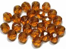 Glasschliffperle, ca. 6 mm, topas, 25 Stück