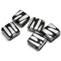 Glasperlen Quadrat, Jet Silver, ca. 10 mm, 5 Stück