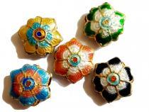 Cloisonne Blüte, 17 x 6 mm, gemischt, 5 Stück