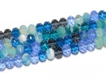 Böhm.Glasschliff Rondelle 6x9mm Blue mix, Kurzstrang