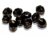 Glasperle Barock, 6x8 mm, black bronze coated, 10 Stück