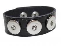 Armband Leder schwarz genarbt