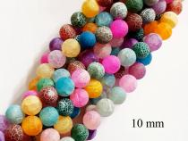Achat Kugel, multicolor, ca. 10 mm, verwittert, Strang