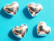 Herz, ca. 9 x 8  mm, poliert, 925/- Silber