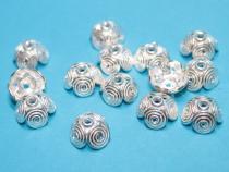 Perlenkappe Schnecke, ca. 12 x 7 mm, 925/- Silber
