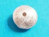 Linse, Disk, ca. 10 x 4 mm, mittig geb., gebürstet, 925-/ silber
