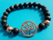 Modisches Armband in Lava mit Lebensbaum