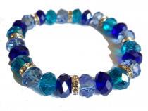 Armband aus Glasschliffperlen in meerblau