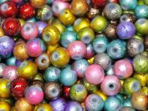 Krepp-Perle, Baliperle, ca. 6 mm, bunt gemischt, 50 Stück