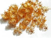 Filigrane Perlenkappen Blättchen, goldfarben, ca. 20 mm, 20 Stück