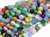 Cat Eye Perle, Kugel, ca. 6 mm, bunt gemischt, Strang