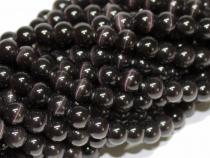 Cat-Eye-Perle, Kugel, ca. 8 mm, schwarz, Strang