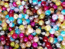 Crash Crackle Perle, zweifarbig, 8 mm, bunt gemischt, 50 Stück