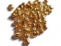 Kaschierperlen, Crimp Cover, 3 mm, offen, goldfarben, 50 Stück
