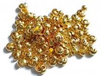 Kaschierperlen, Crimp Cover, 4 mm, offen, goldfarben, 50 Stück
