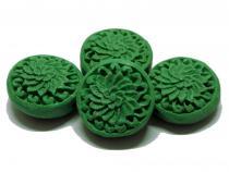Lackperle, Linse, Button, grün, 2 Stück