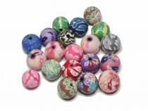 Polymer Perlen, ca. 12 mm, bunt gemischt, 20 Stück