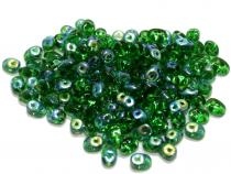 Duobeads, Twinbeads. green lustered, 10 Gramm