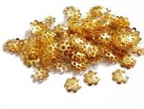 Filigrane Perlenkappe, ca. 7 mm, goldfarben, 100 Stück