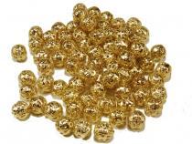 Filigrane Metallperle, ca. 8 mm, goldfarben, 25 Stück