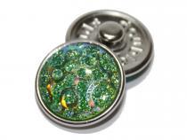 Druckknopf Glitzer grün-blau