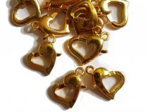 Karabiner Herzform, goldfarben, ca. 12 x 9 mm, 5 Stück