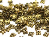 Perlenkappe, ca. 6 mm, Blättchen, altgoldfarben, 50 Stück