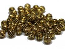 Metallperlen, ca. 6 mm, gerieft, goldfarben, 20 Stück