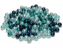 Glasperlen, Glaswachsperlen, 6 mm, 50 St., Farbmix Auswahl Carribean Blue Mix