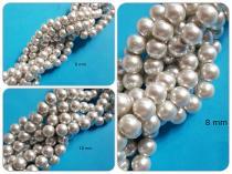 Glaswachsperle Silber, 6, 8 oder 10 mm, Strang