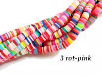 Polymer Heishi Katsuki Perlen 6mm, Strang 3 Rot-Pink
