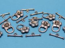 Knebel-Verschluss kleine Blüte, ca. 22 x 13 mm, 10 Stück