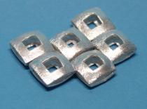 Quadrat, ca. 12 x 12 mm, offen, doppelt, Kupfer versilbert
