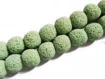 Lava Kugel, ca. 14 mm, meergrün, Strang