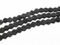 Lava Sechseck, schwarz, ca. 12 mm, Strang