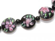 Lampworkperle Rose auf schwarz, 2 Stück