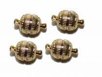 Magnetverschluss, Kugel, ca. 8 mm, gerieft, goldfarben, 4 Stück