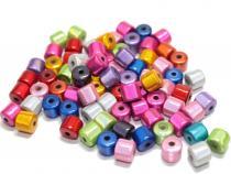 Miracle Beads Walzen, 8 mm, Acryl, Farbmix, 25 Stück