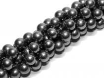 Muschelkernperle, schwarz, 6 mm, Strang