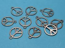 Peace Zeichen, ca. 21 x 18 mm, mit Öse, 10 Stück
