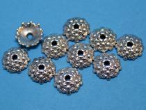 Perlenkappe, ca. 12 mm, 5 Blüten, altsilberfarben, 10 Stück
