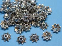 Perlenkappe, ca. 8 mm, Blüte, altsilberfarben, 50 Stück