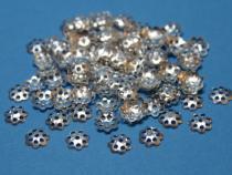 Filigrane Perlenkappe, ca. 8 mm, silberfarben, 100 Stück