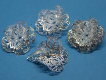 Perlenkappe, ca. 24 x 29 mm, silberf., filigran 6 Stück