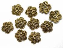 Perlenkappe, ca. 10 mm, 5 Blattranken, goldf., 10 Stück
