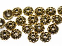 Perlenkappe, ca. 9 x 3 mm, altgoldfarben, 20 Stück