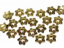 Perlenkappe, ca. 9 x 3 mm, Sternchen, altgoldfarben, 20 Stück
