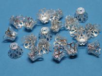 Filigrane Perlenkappen Krone, silberfarben, ca. 9 x 7 mm, 20 Stück
