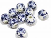 Porzellan Kugel Kirschblüte blau, ca. 10 mm, 10 Stück