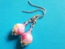 Rosa Rose mit Silber Ohrhänger